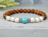 mens palm wood and turquoise bracelet