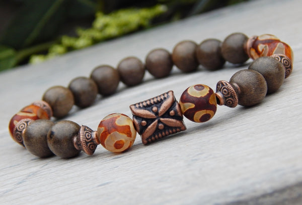 mens beaded wood bracelet and agate