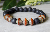 volcano lava black and orange bracelet for men