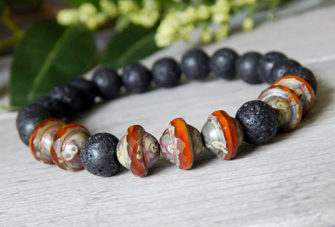 mens volcano rock bracelets beaded