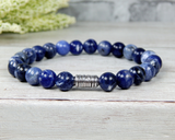 mens gemstone bracelet blue sodalite jewelry for him