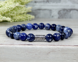 blue bead mens bracelet handmade man jewelry