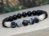 mens black gemstone bracelet
