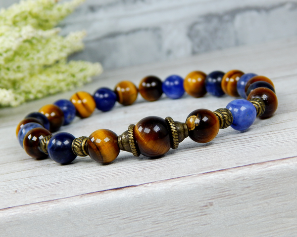 mens gemstone bracelet beaded jewelry for man