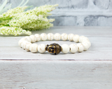 mans buddha bracelet beaded white buddhist jewelry