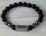mens black agate bracelet