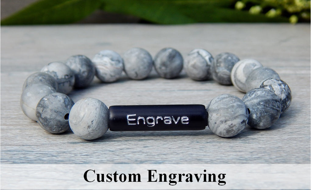 Mens Engraved Bracelet - Black and White Beaded Jewelry