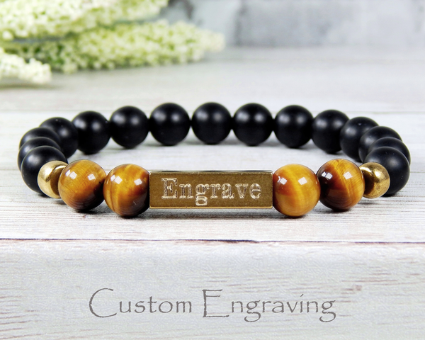 mens engraved bracelet beaded jewelry