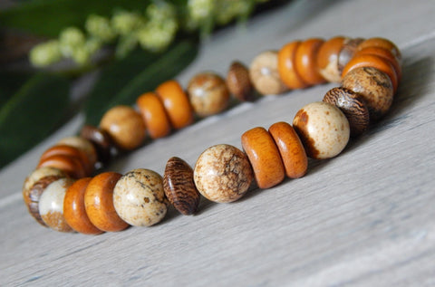 mens orange and brown beaded bracelet