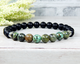 mens green and black beaded bracelet nature jewelry
