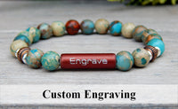 mens engraved bracelet jasper gemstone jewelry