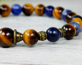mens beaded gemstone bracelet tiger eye sodalite