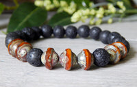 mens orange and black beaded bracelets