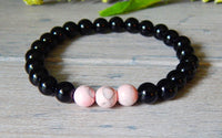 Mens Pink and Black Beaded Bracelet