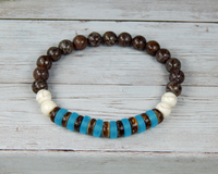 sea glass bracelet for men blue brown mens jewelry