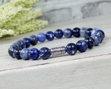 mens blue gemstone beaded bracelet