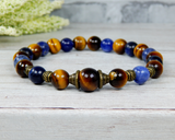 blue and brown beaded bracelet mens jewelry