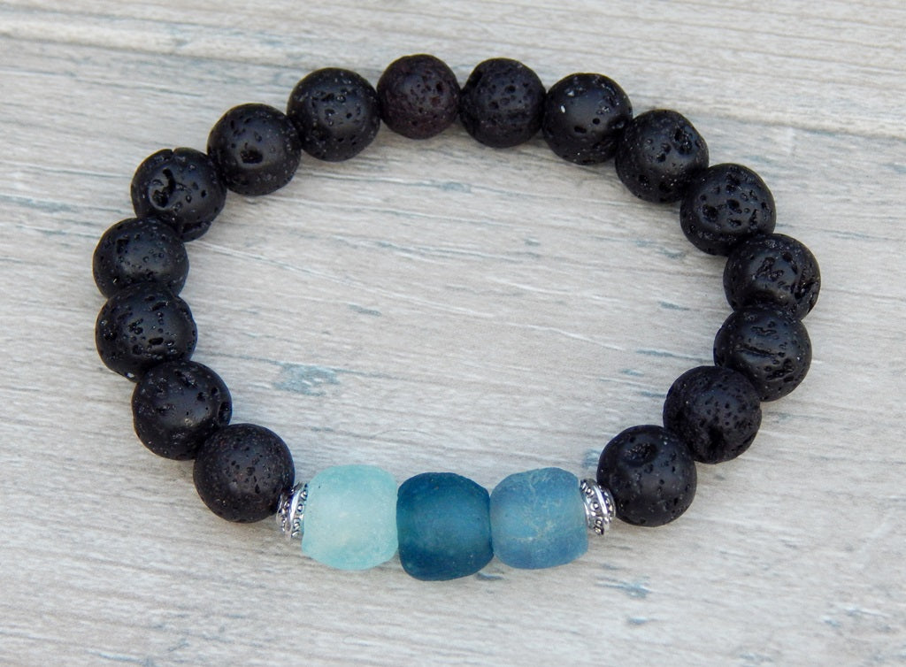 products bracelet namaste volcano silver page lava black beaded beads spacer aromatherapy with volcanic tibetan rock