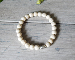 mens white beaded bracelets