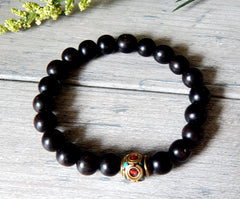 mens black bead bracelets
