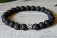 volcano rock lava bead mens bracelet with yin yang charm