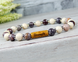 beaded gemstone yoga bracelet with word bead