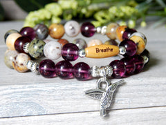 agate gemstone beaded purple bracelet