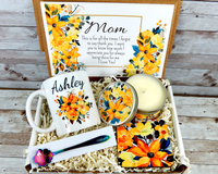 Yellow Flower Gift Basket for Mom with Personalized Coffee Mug for Birthday, Mothers Day or Any Occasion