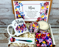 mom gift basket with coffee mug for mothers day