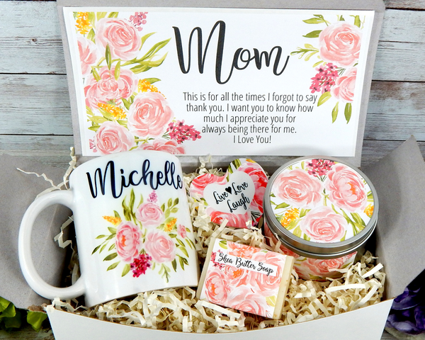 mom pink flowers gift basket