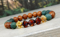 wood bead bracelet moss agate jewelry