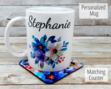 personalized blue flower mug