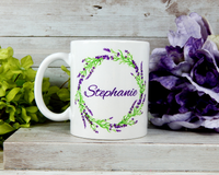 lavender personalized mug
