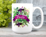 personalized flower mug custom name mug