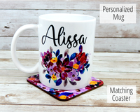 personalized name mug with matching coaster