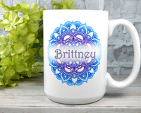 personalized mug with mandala artwork