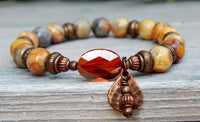 Bohemian Beaded Agate Beaded Bracelet Sienna and Natural Colors