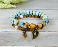 earthy jewelry for women blue and brown bracelet