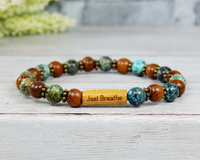 african turquoise and wood bracelet for women