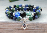 green and blue beaded gemstone bracelets
