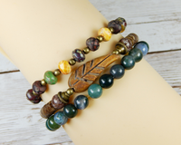nature bracelet set stacked bead bracelets
