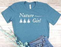 blue nature girl t-shirt gift for nature lover women