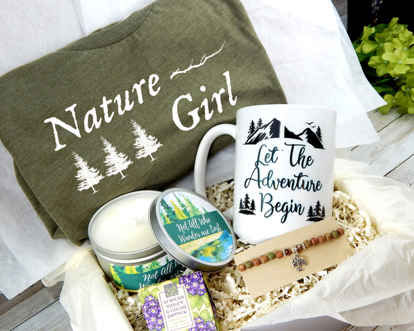 nature themed gift basket for nature lover birthday