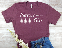 maroon nature girl t-shirt gift for nature lover women
