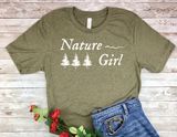 olive green nature girl t-shirt gift for nature lover women