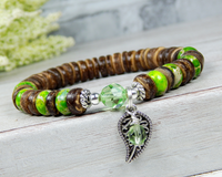 womens nature jewelry green leaf bracelets