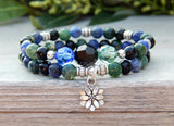 stacked yoga bracelet with lotus flower