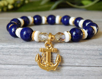 anchor charm nautical blue and white jewelry
