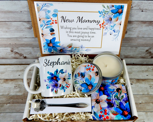 personalized gift basket for a new mom with coffee mug
