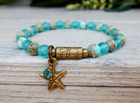 beach bracelet aqua blue sea glass beads starfish